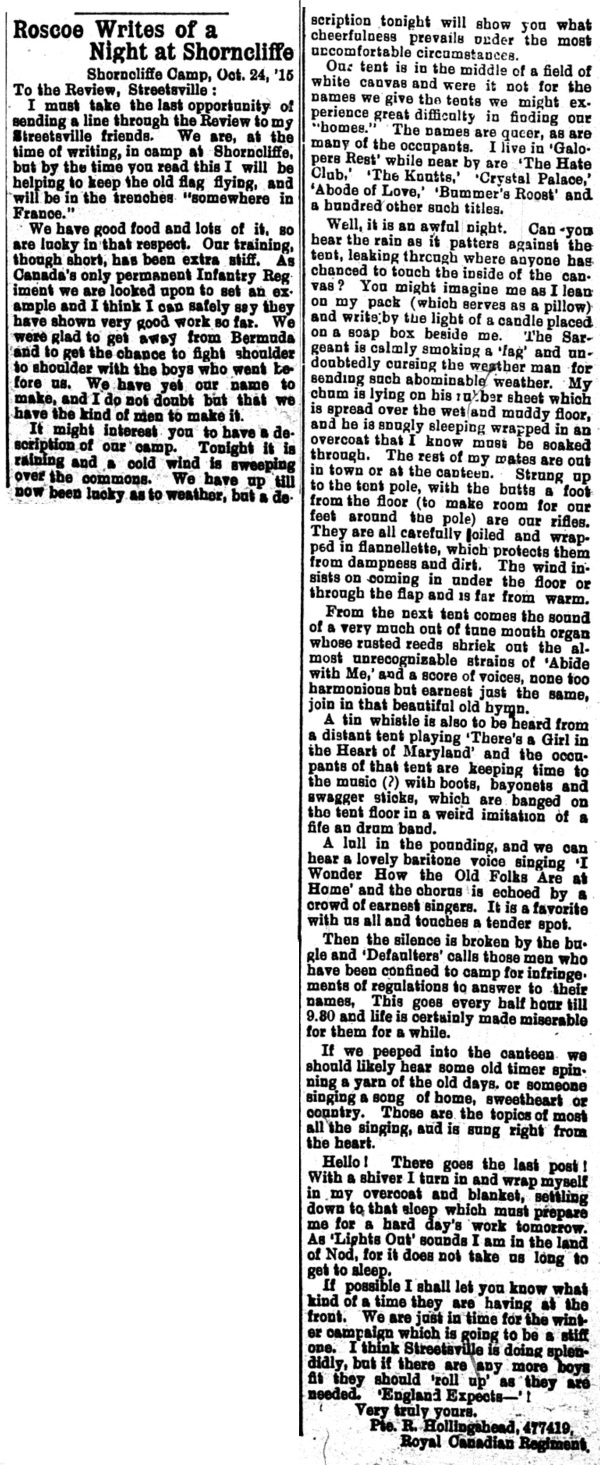 29 Roscoe Writes - Nov 11 1915